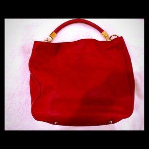 YSL Red Leather With Stingray Handle Sac Roady